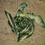 шарф платок зеленые розы