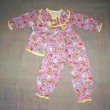 новая теплая мальвинка 2-3 и 3-4 и 4-5 на 5-6 лет х/б симпатичная теплая пижама девочке