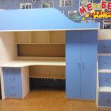 Кровать-Чердак с рабочей зоной, шкафом и лестницей-комодом кл5-2 Merabel