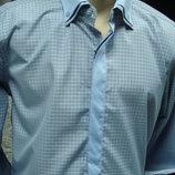 Рубашка Enriko серо-голубая клетка приталенная L, 2XL, 3 XL