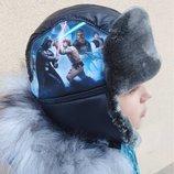 Зимняя шапка для мальчика с мехом