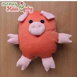 Игрушка ручной работы Сенсорная Свинка с пенопластовыми шариками внутри