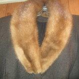 Зимнее утепленное женское большое шерстяное пальто огромного размера на ватине, с норкой 62-й р.XXXL