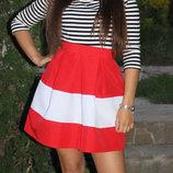Красная юбочка Куколка с белой полосой