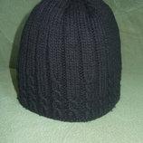 Теплая шапка двойная плотная вязка