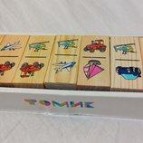 Настольная игра деревянное домино Томик, Транспорт. Отличное качество.