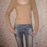 Мягкий свитерок с косами 55 % шелк, размер М, наш 44