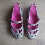 кроксы аквашузы босоножки оригинал Crocs Крокс 19,5 см блестки розовые 19,5