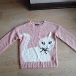 Свитер девочке кофта розовая с котенком 7-8 лет красивая George Джорж