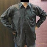 рубашка черная в полоску длинный рукав мужская под атлас
