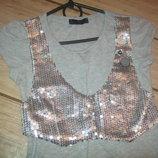 Женская гламурная кофта-футболка в обтяжку с жилеткой из пайеток,из 100%Cottona, хлопка.42-44,XS-S.