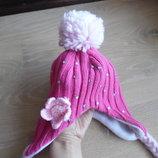 шапка зимняя розовая 1-3 лет на флисе с цветком камни флис
