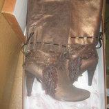Эксклюзивные женские сапоги из бронзовой кожи с эффетом потрескивания,бархат,перфорация 38-й Новые