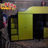 Кровать-Чердак с рабочей зоной, шкафом и лестницей-комодом кл7-2 Merabel