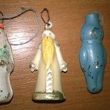 старинные новогодние микро игрушки,редкость.дед мороз,снегурочка,космонавт,кукла