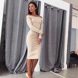 Хит Трикотажное шикарное платье Открытые плечи демисезонное с вырезом лодочка вечернее от р40 по р46