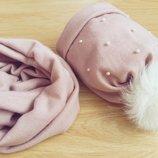 Набор шапка хомут для девочек