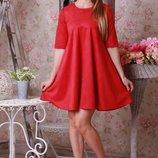 Трикотажное классическое платье Трапеция с вырезом горловина повседневное все цвета от р40 по р52