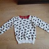 кофта свитерок свитер 2-4 лет детский зайчик красный белый H&M НМ