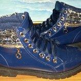 Теплые зимние ботинки синие лак в наличии