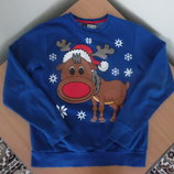 свитер ватник синий рр М олень зимний модный стильный merry xmas оригинал