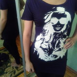 крутая футболка туникас ринтом лицо стразы