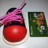 Новая деревянная развивающая игрушка шнуровка ботинок
