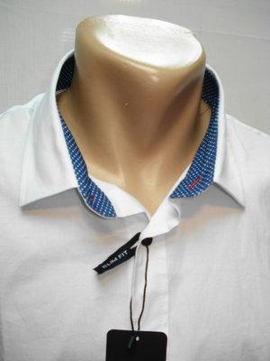 Рубашка мужская ZARA MAN белая с голубой отделкой 48,50,52