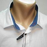 Рубашка мужская ZARA MAN белая с голубой отделкой 48,50,52,54,56