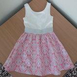 платье девочке 8 лет сарафан БЕЛОЕ КРЕМОВОЕ emily wert розорое гипюр нарядное фирменное оригинал