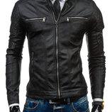стильная весенняя мужская куртка из экокожи
