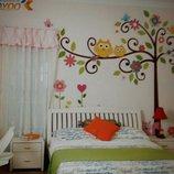 Наклейка на стену для детской «Совушки на дереве»