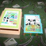 Деревянные кубики-пазлы с Сашей и Машей