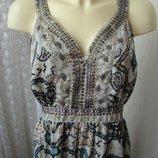 Платье женское летнее легкое яркое сарафан в пол бренд New Look р.50 5304а