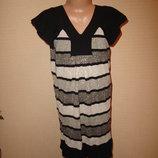 Черно-белое платье-туника 6-8 лет