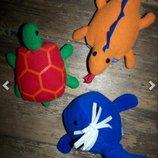 3 Книжки - игрушки. Мягкие книги для малышей. Черепаха, дракон динозавр , рыба кит