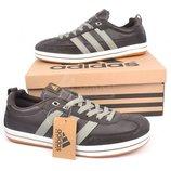 Кроссовки мужские Adidas замш коричневые на шнуровке