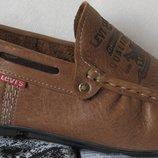 Стильные кожаные мужские мокасины Levis осень весна лето туфли