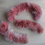 Мех натуральный песец на ленте кожаной розовый шикарный пушистый