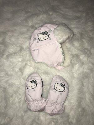 Зимняя шапочка и рукавички краги H&M Hello Kitty. 4-8 лет. Комплект Хеллоу Китти Шапка варежки