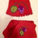 Шапка и шарфик теплые на 2-7 лет. Шерсть. Стильная Шапочка для девочки.
