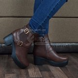 Ботинки на тракторной подошве «Zara» коричневые