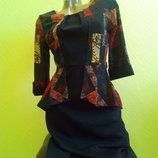 Шикарное платье FLY ANGEL с баской,черное.турция36