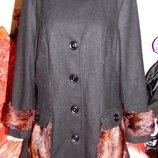 Пальто черное демисезонное с мехом норки