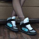Ботинки на танкетке мятные серые черные на шнуровке с липучкой HKR