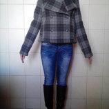 Ультрамодное шерстяное 75% шерсти укороченное двубортное пальто Gap