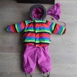 Комбинезон куртка Lenne ленне 80 см рост детский девочке четной полоска шапка ленне