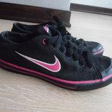 Кроссовки оригинал 38 рр Nike найк 24,5 см черные розовые новын тканивые