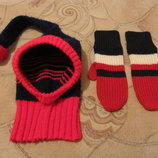 Зимняя шапка и рукавички на девочку 5 - 6 лет. в наличии.
