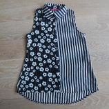 Блузка рубашка майка 9-10 л футболка детская цветки полоска Young Dimension девочке стильная